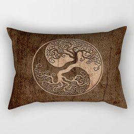 Rough Wood Grain Effect Tree of Life Yin Yang Rectangular Pillow