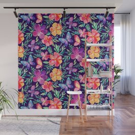 Summer Blooms & Butterflies on Dark Purple Wall Mural