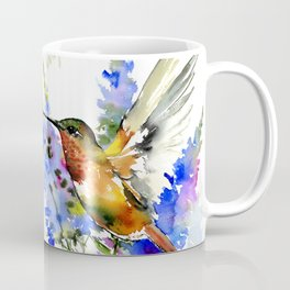 Alen's Hummingbird and Blue Flowers, floral bird design birds, watercolor floral bird art Coffee Mug