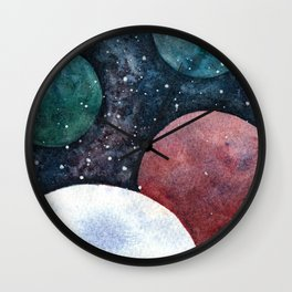 Journey through the cosmos. Alien planet watercolor Wall Clock