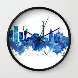 Kyiv Ukraine Skyline Blue Wall Clock