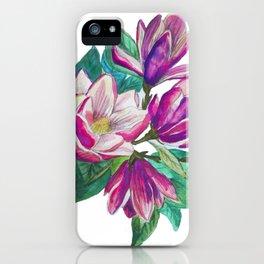 Purple magnolia flower iPhone Case