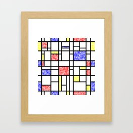 Modern Art Plasma Red Yellow Blue Grid Pattern Framed Art Print