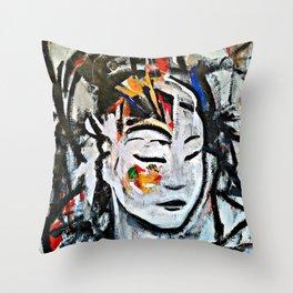 El Cambio - Abstract portraits - Original Painting - MARINA TALIERA Throw Pillow