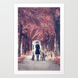 AUTUMN DOGS Art Print