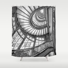 Rookery Building Frank Lloyd Wright Stairway & Glass Windows black and white photography  Shower Curtain
