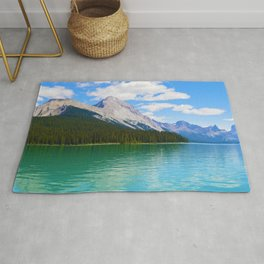 Malgine Lake in Jasper National Park, Canada Rug