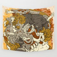 dancing Wall Tapestries featuring VECTORICAL DANCING by roompoetliar