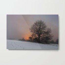 Dunstable Downs in Winter Metal Print