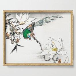 Exotic Bird And Magnolia Flowers - Vintage Japanese Woodblock Print Art By Numata Kashu Serving Tray