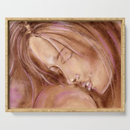 Tenderness. The girl puts her head on the shoulder of her lover. Soft pastel pattern in pink tones. Serving Tray