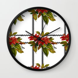 Red flowers with green leaves with black square on white background Wall Clock