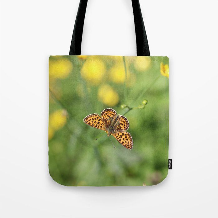 Small pearl-bordered fritillary and buttercups Tote Bag