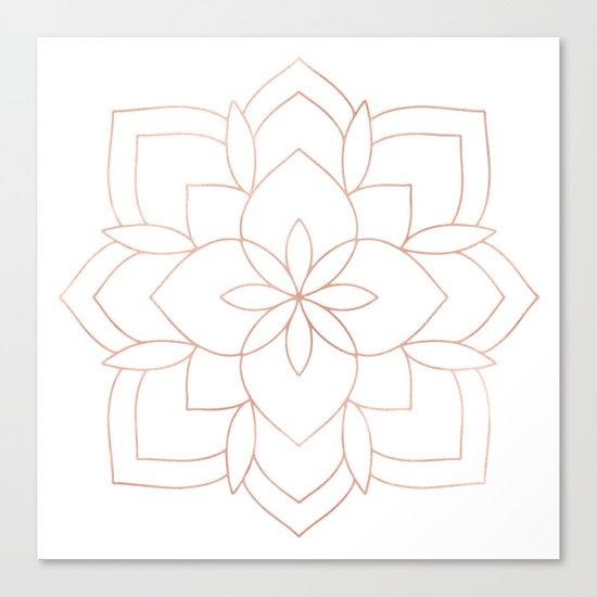 Mandala Rose Gold Pink Art Deco Canvas Print