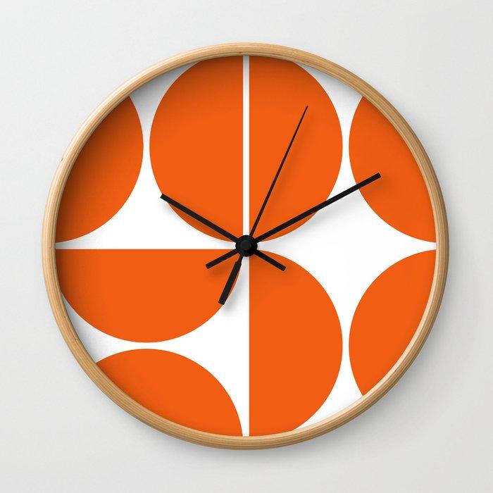 Mid Century Modern Orange Square Wall Clock