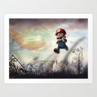 super mario Art Prints featuring Super Mario by JLEEORIGINALS