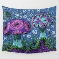 mushroom Wall Tapestries featuring Mushroom Galaxy by Michelle Bowden Art