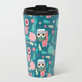 Owls and flowers in blue Travel Mug
