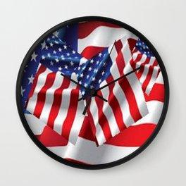 Patriotic American Flag Abstract Art Wall Clock