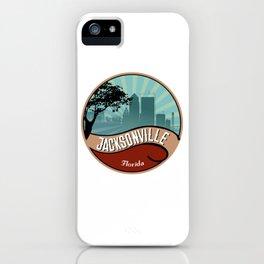 Jacksonville City Skyline Design Florida Retro Vintage 80s iPhone Case