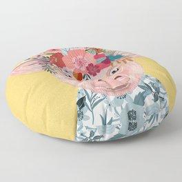 Piglet with flower crown Floor Pillow
