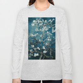 Van Gogh Almond Blossoms : Dark Teal Long Sleeve T-shirt