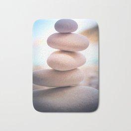 Zen beach rocks print, balancing pebbles, Yoga room art, Beach decor, wall art Bath Mat