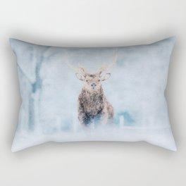 Deer in the snow watercolor painting  Rectangular Pillow