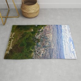 Mount Monserrate, with a 10,000 ft view of Bogota Colombia Rug