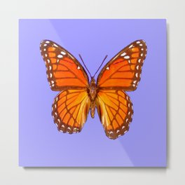 LILAC PURPLE MONARCH BUTTERFLY PATTERN Metal Print