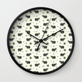 Hippos and Flowers Wall Clock
