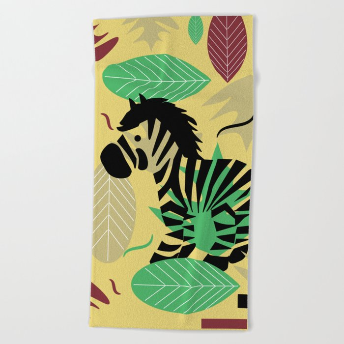 Zebra with leaves and dots Beach Towel
