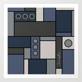 Blocked in Steely Blue Art Print