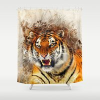 fierce Shower Curtains featuring Fierce by Robin Curtiss