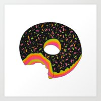 donut Art Prints featuring Donut by Luna Portnoi