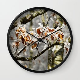 Frosted Leaves Wall Clock