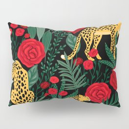 Brown Leopards Jungle leaves and red roses pattern Pillow Sham
