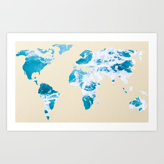 Ocean World Map Sea and Sand Art Print
