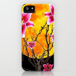 EXOTIC FUCHSIA STAR GAZER PINK LILIES MOON ART iPhone Case