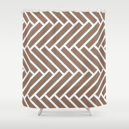 Dark beige and white herringbone pattern Shower Curtain