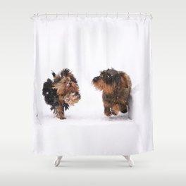 Dogs Running Race On Snow #decor #society6 #buyart Shower Curtain