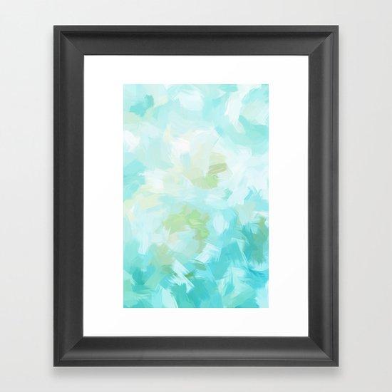 BLOSSOMS - CYAN Framed Art Print