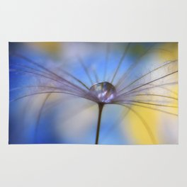Cool Water A droplet on a Dandelion Seed Parachute Rug