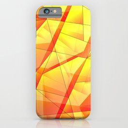 Bright contrasting fragments of crystals on irregularly shaped yellow and orange triangles. iPhone Case
