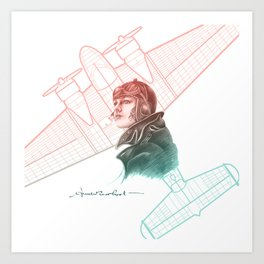 Amelia Earhart Courageous Adventurer Art Print