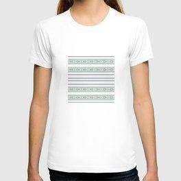 Decorative Teal Grey Stripe Pattern T-shirt