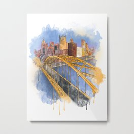 Pittsburgh Fort Pitt and Downtown Metal Print