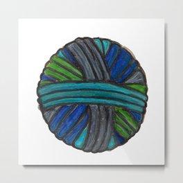 Watercolor Yarn Ball Metal Print