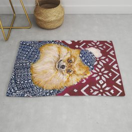 Pomeranian in a Hat and Scarf Rug