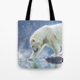 A polar bear at the water Tote Bag